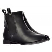 Onlineshoe Classic Chelsea Flat Ankle Boot - Choice of Finishes Elasticated Sides - Black, Brown - Onlineshoe from Onlineshoe UK