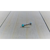 """Turquoise rook piercing barbell 16g vertical labret curved bar titanium eyebrow ring 5/16"""""""