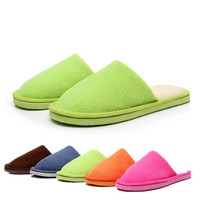 Candy Color Men Women Winter Warm House Indoor Slippers Cotton Sandals Foot Warmer Shoes Multicolor