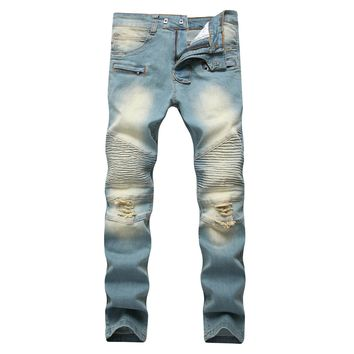 Zippers Decoration Men's Fashion Men Stretch Jeans [127703318557]
