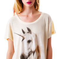 Wildfox Couture Unicorn Dream Lazy Weekend Tee Pink Champagne