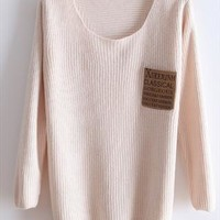 Round neck long sleeve sweater female loose beige sweater from Fanewant