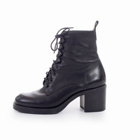 90s Vintage Black Leather Lace up Ankle Boots Chunky Platform Combat Goth Minimalist Booties Womens Size US 5.5 UK 3.5 EUR 36