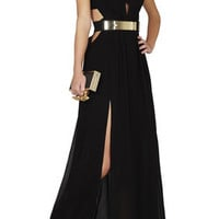 BCBG Alda Plunging V-Neck Cutout Gown