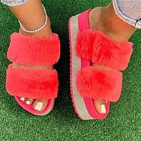 2020 slippers new rhinestone thick-soled fur slippers fur shoes pink
