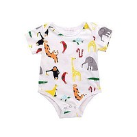 Summer 2017 Newborn Infant Baby Boys Girls Zoo Romper Cotton Short Sleeve Jumpsuit Outfits Sunsuit Clothes