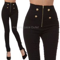 Black Shiny Dress High Waisted Button Sailor Pants Stretch Fitted Slim Skinny