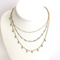 Level Up Turquoise Layered Necklace in Gold