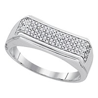 Sterling Silver Mens Round Diamond Rectangle Band Ring 1-6 Cttw