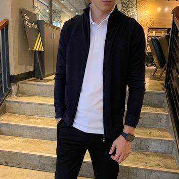 """""""Amani"""" Men Sport Casual Commercial Solid Color Leisure Upright Neck  Print Long Sleeve Zip Cardigan Jacket Coat Baseball Clothes"""