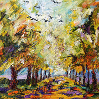 Where Crows Dream Autumn Landscape by Ginette Callaway