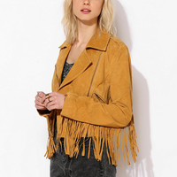 Staring At Stars Suede Fringe Moto Jacket - Urban Outfitters