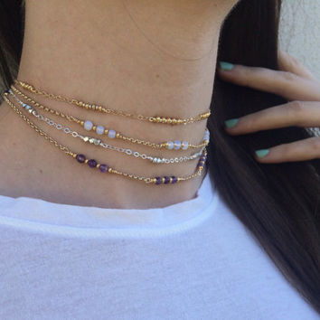 Amethyst Opalite Silver and gold Beaded chokers/Necklaces