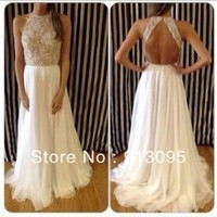 Best Quality!! 2014 New Arrival Sexy High Neck Beaded Top White Chiffon Prom Dresses Long Open Back For Special Occasion Dresses