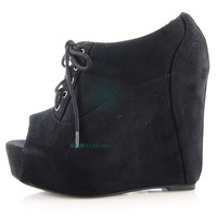 fia By Soda, Peep Toe Lace Up Platform Wedge Heel Booties