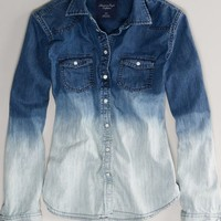 AEO Women's Ombre Denim Western Shirt (Washed Blue)