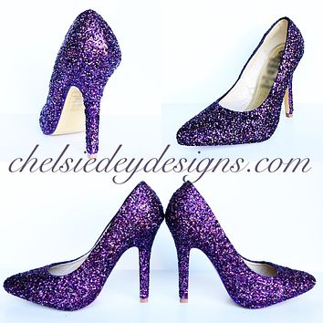 Plum Glitter Pointed Pumps, Lilac Silver Wedding Shoes