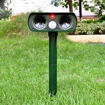 Solar Ultrasonic Pest Animal Repeller LED PIR Motion Powered Waterproof Outdoor for repelling Moles Bird Rat Dog Cat Repellent|Repellents