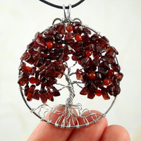 Garnet and carnelian silver-plated wire Tree of Life pendant