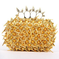 Spike Rivet Knukle Ring Box Evening Clutch party Punk Purse Fashion Bags Clutch