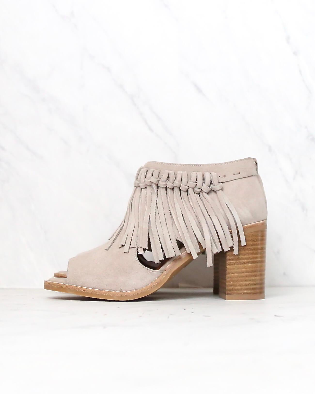 Image of Sbicca - Hickory Suede Leather Fringe Ankle Booties in Beige