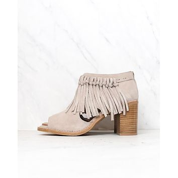 Sbicca - Hickory Suede Leather Fringe Ankle Booties in Beige