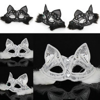 Halloween Party Mask Lace Animal Masks Fox Mask Black White Color Half Face Sexy cat face Mask Accessories W50