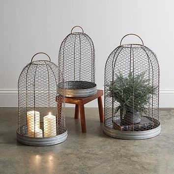 Set of 3 Wire Mesh Cloche with Base
