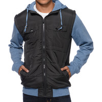 Empyre Magnus Charcoal & Heather Blue Zip Up Hooded Vest at Zumiez : PDP