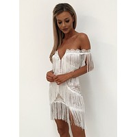 Milan Off the Shoulder Fringe Dress