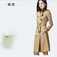 2017 Ladies rain jacket long trench coat female British style double breast jacket khaki windbreaker