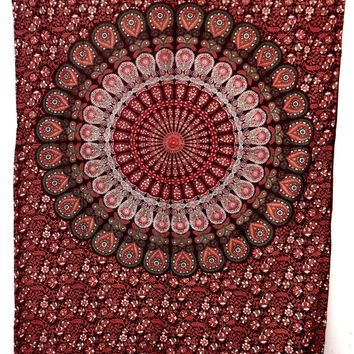Twin Red Peacock Feather Mandala Tapestry Wall Hanging