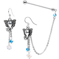 Industrial Barbell Chain Earrings Created with Swarovski Crystals | Body Candy Body Jewelry