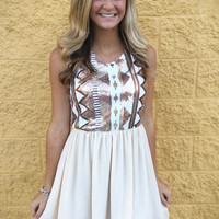 Sequin Patterned Empire Dress