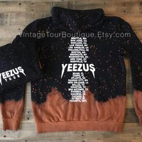 Yeezus Tour Bleached Tie Dye Hoodie The Life of Pablo Tour Kanye West Yeezy Merch