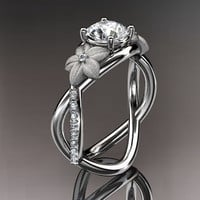 14kt  white gold diamond leaf and vine wedding ring,engagement ring with moissanite center stone ADLR90