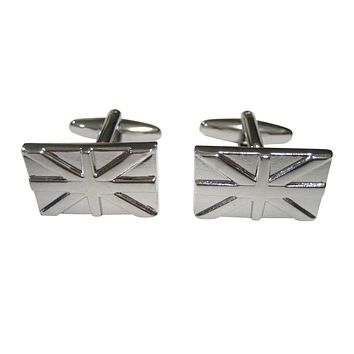 Silver Toned United Kingdom Union Jack Great Britain Flag Outline Cufflinks