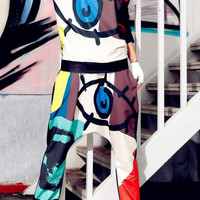 Eye & Mouth Print Color Block Drop Crotch Harem Pants