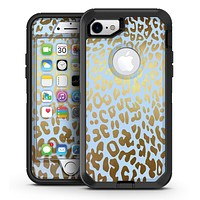 Gold Flaked Animal Light Blue 3 - iPhone 7 or 7 Plus OtterBox Defender Case Skin Decal Kit