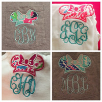 Minnie Mouse Lilly Pulitzer Monogram shirt! Perfect for a trip to Disney! Your choice of fabric! NEW fabrics!!