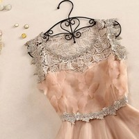 3D Butterfly hollow out lace dress
