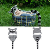 0-12M baby Photo Props Baby Raccoon Clothes Handmade Crochet Cotton Newborn Baby Civet Cats Photography Props
