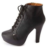 High Heel Lace-Up Booties by Charlotte Russe