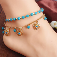 Gold Beaded Chain Anklets