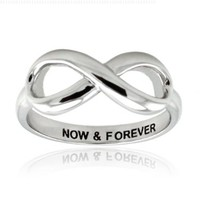 Sterling Silver Now & Forever Engraved Infinity Ring, Size 7