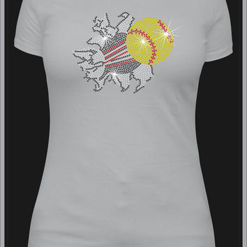 Rhinestone Softball Custom T-Shirt - Bling Shirt