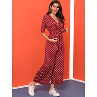 SHEIN Shawl Collar Self Belted Wide Leg Jumpsuit