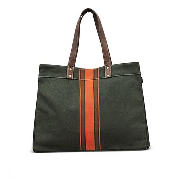 NEW! Carryall Tote - Mod Stripe Terracotta/ Moss