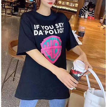 Woman Leisure Fashion Letter Cartoon Personality Printing  Loose Crew Neck Short Sleeve Motion Tops Skirt