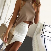 PEAPIH3 Sexy high-necked sleeveless dew shoulder chiffon blouse